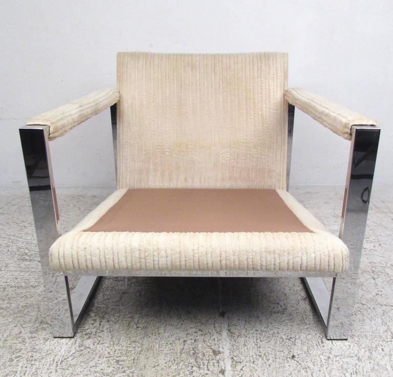 Upholstery Mid-Century Modern Milo Baughman Style Chrome Lounge Chair For Sale