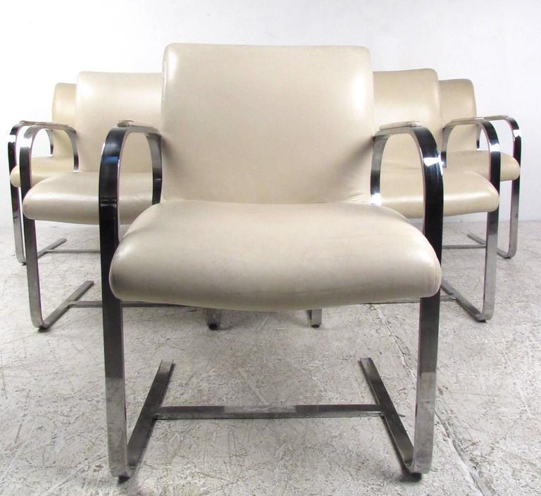 Mid-Century Modern Mies van der Rohe Brno Style Dining Chairs In Good Condition For Sale In Brooklyn, NY