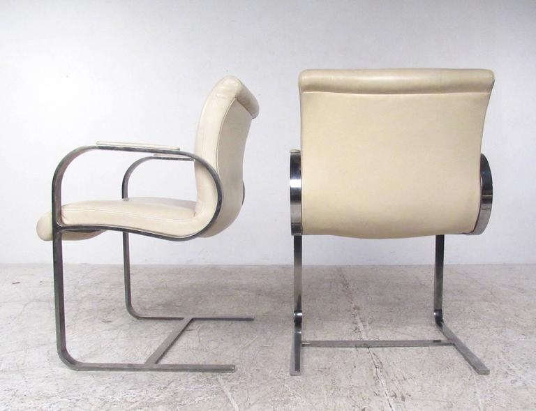 Leather Mid-Century Modern Mies van der Rohe Brno Style Dining Chairs For Sale