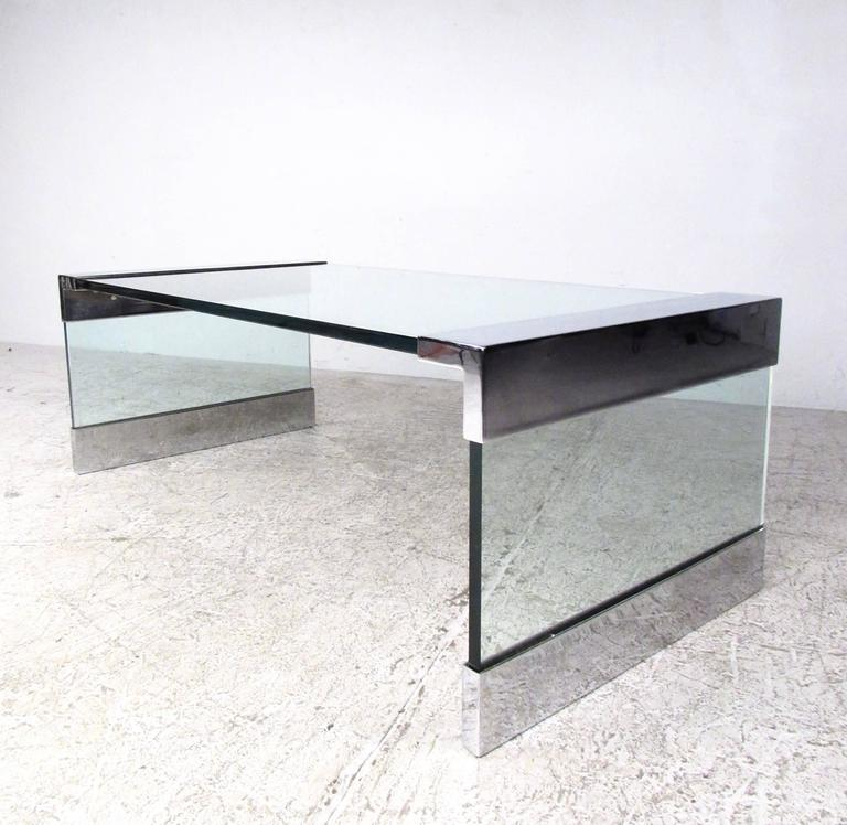 20th Century Vintage Chrome and Glass Coffee Table after Pace For Sale