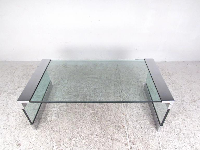 American Vintage Chrome and Glass Coffee Table after Pace For Sale
