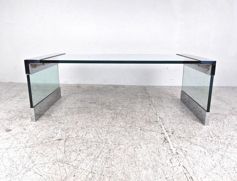 Vintage Chrome and Glass Coffee Table after Pace For Sale 1