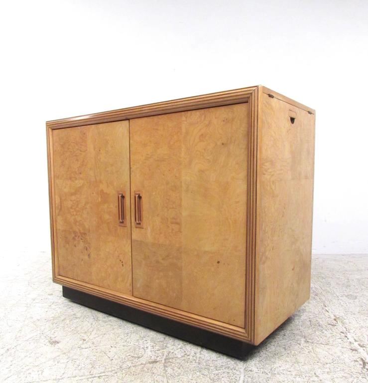 Mid century modern burl wood bar cabinet by henredon at for Burl wood kitchen cabinets