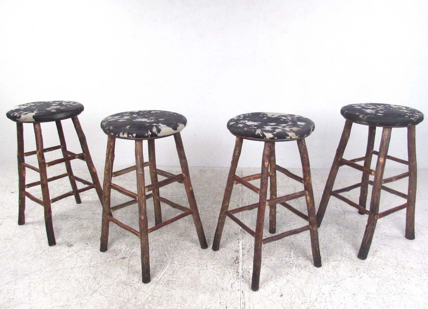 Set Of Four Vintage Rustic Bar Stools By Old Hickory For Sale At 1stdibs