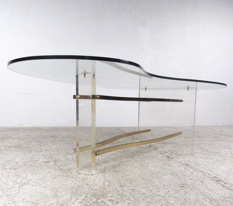 Mid Century Modern Charles Hollis Jones Lucite Small: Charles Hollis Jones Coffee Table In Brass And Lucite For