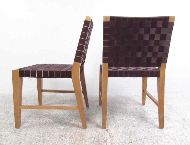Set Of Four Modern Jens Risom Style Strap Chairs For Sale