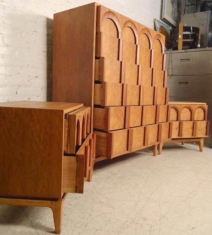 Mid Century Bedroom Set By Thomasville For Great Three Piece With Burlwood Inserts And Sculpted Cathedral Style Arches Six