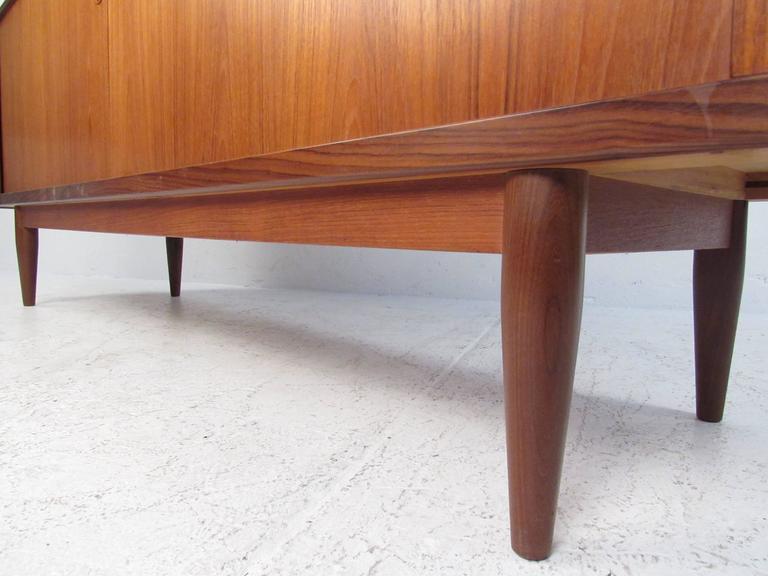 Mid-20th Century Danish Modern Teak Tambour Sideboard in the Style of Hans Wegner For Sale