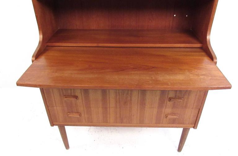 Mid-Century Modern Danish Teak Secretary with Bookshelf For Sale 1