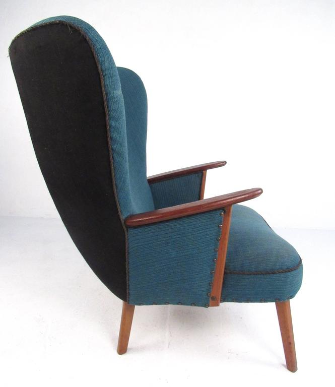 Danish Mid-Century Modern Wingback Lounge Chair by Madsen and Schübel Pragh For Sale
