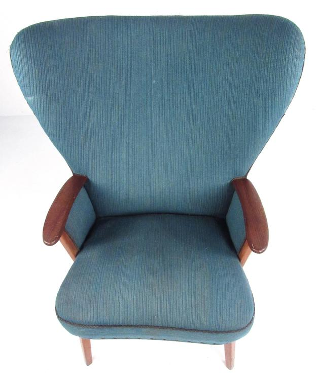Fabric Mid-Century Modern Wingback Lounge Chair by Madsen and Schübel Pragh For Sale