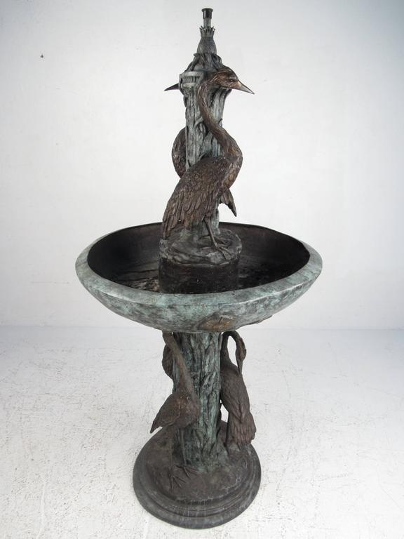 Renaissance Bronze Garden Fountain with Water Feature and Egret Motif For Sale