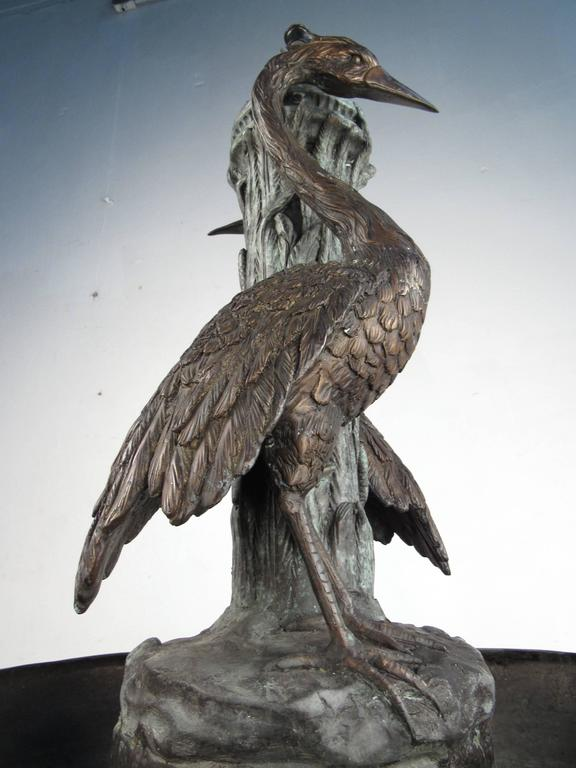 Bronze Garden Fountain with Water Feature and Egret Motif In Good Condition For Sale In Brooklyn, NY