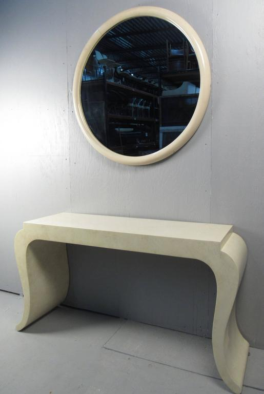 Contemporary Modern Console Table With Wall Mirror In Good Condition For Sale In Brooklyn, NY