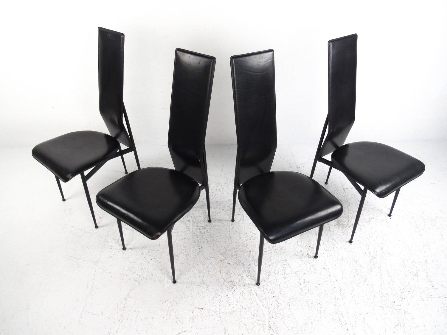Made In Italy Leather Luxury Contemporary Furniture Set: Set Of Contemporary Modern Italian Leather Dining Chairs