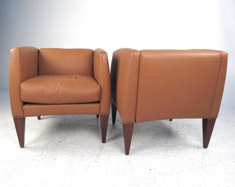 Pair of Contemporary Modern Italian Leather Club Chairs 3