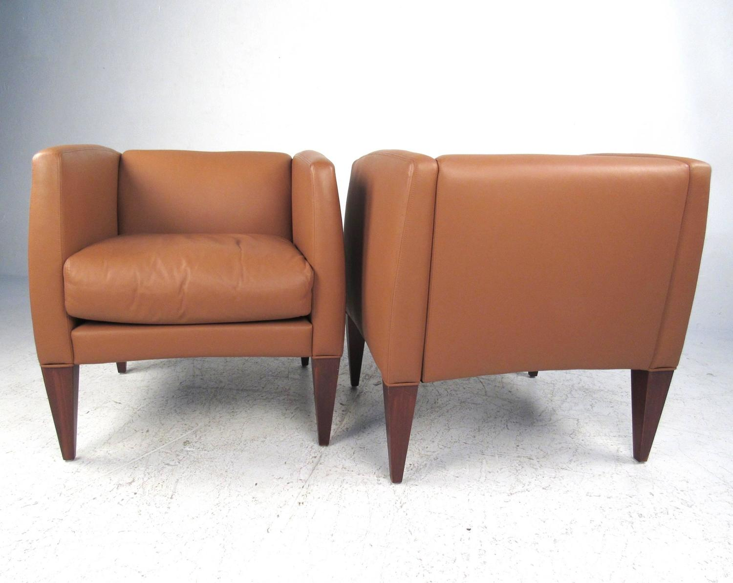 Pair Of Contemporary Modern Italian Leather Club Chairs For Sale At 1stdibs