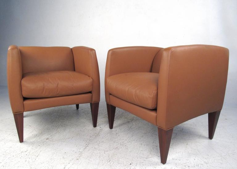 Pair of Contemporary Modern Italian Leather Club Chairs 2