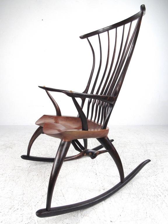 American Rustic Modern Sculptural Windsor Rocking Chair By Joe Graham For  Lenox Workshop For Sale