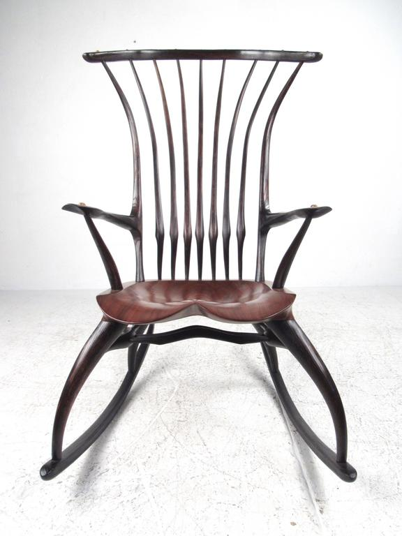 This Stunning Studio Made Rocking Chair Features Beautiful Sculpted  Hardwood Frame With Tapered Spindle Back,