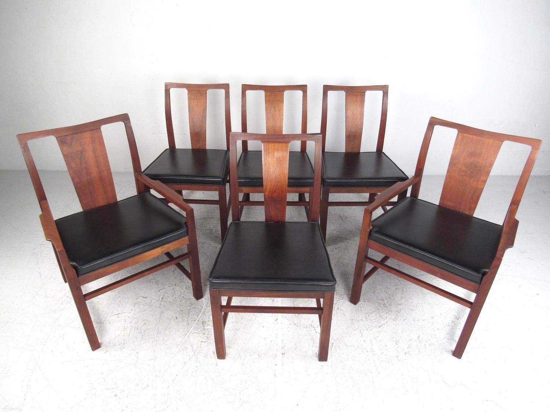 Set of six mid century modern american walnut dining for Mid century american furniture