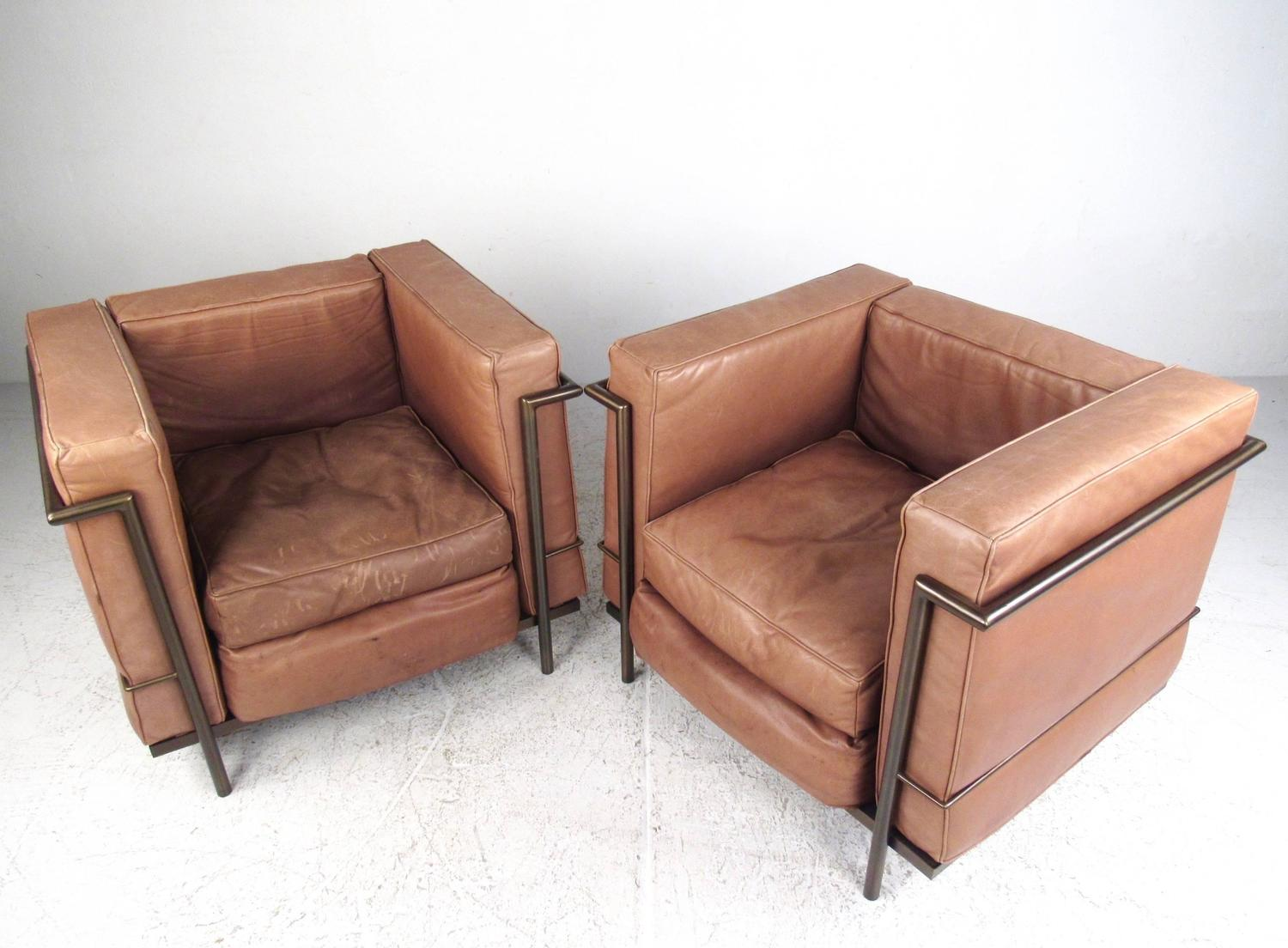 Pair Of Vintage Modern Le Corbusier Style Leather And