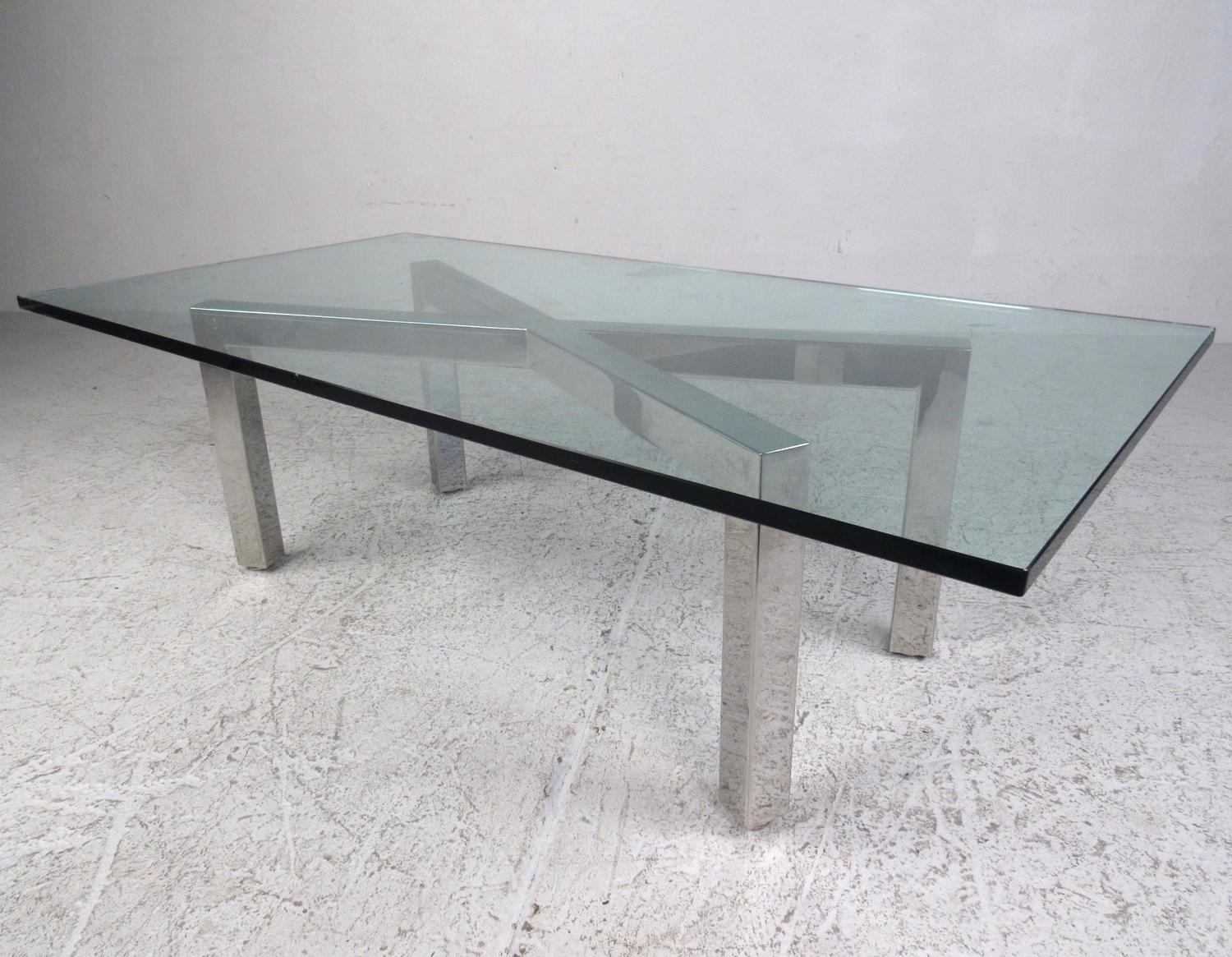 Mid Century Modern Chrome X Frame Coffee Table In The Style Of Milo Baughman For Sale At 1stdibs