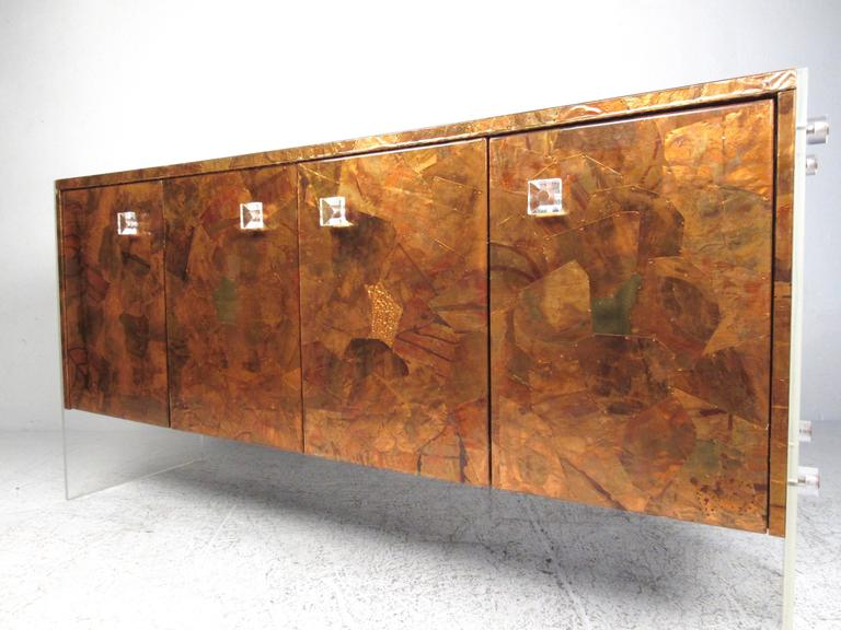 Lovely Patchwork Copper And Lucite Sideboard In The Style Of Milo Baughman 2