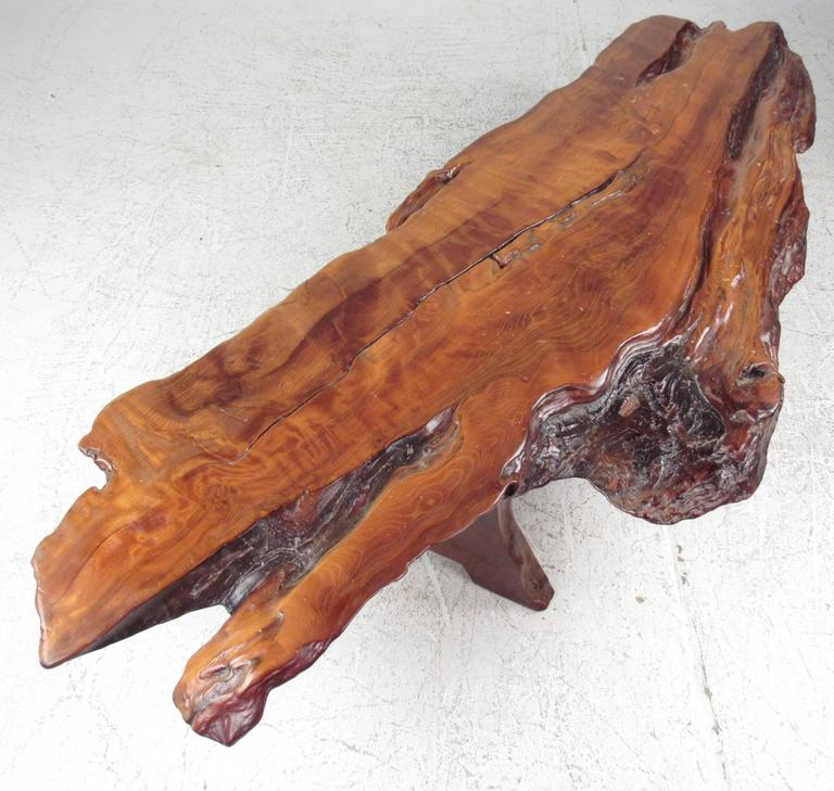 Adirondack Rustic Free Edge Slab Table For Sale At 1stdibs: Exquisite Free Edge Coffee Table For Sale At 1stdibs