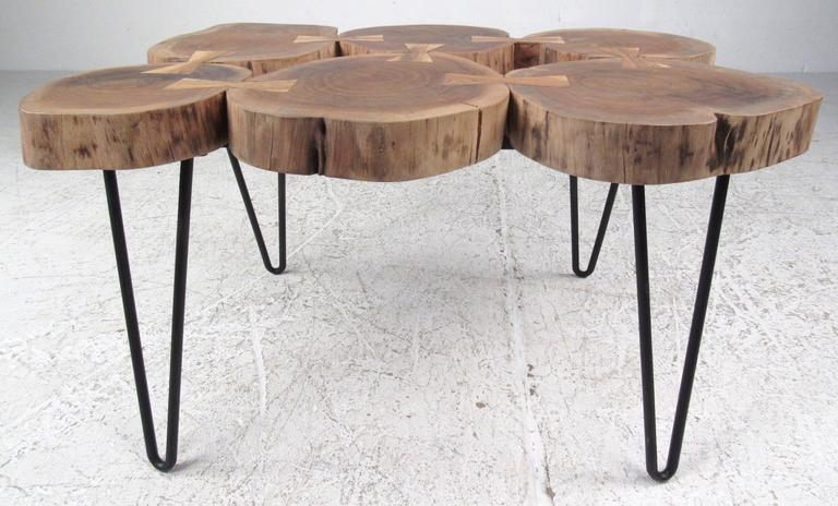 20th Century Unique Tree Stump Table With Bow Tie Joints For Sale