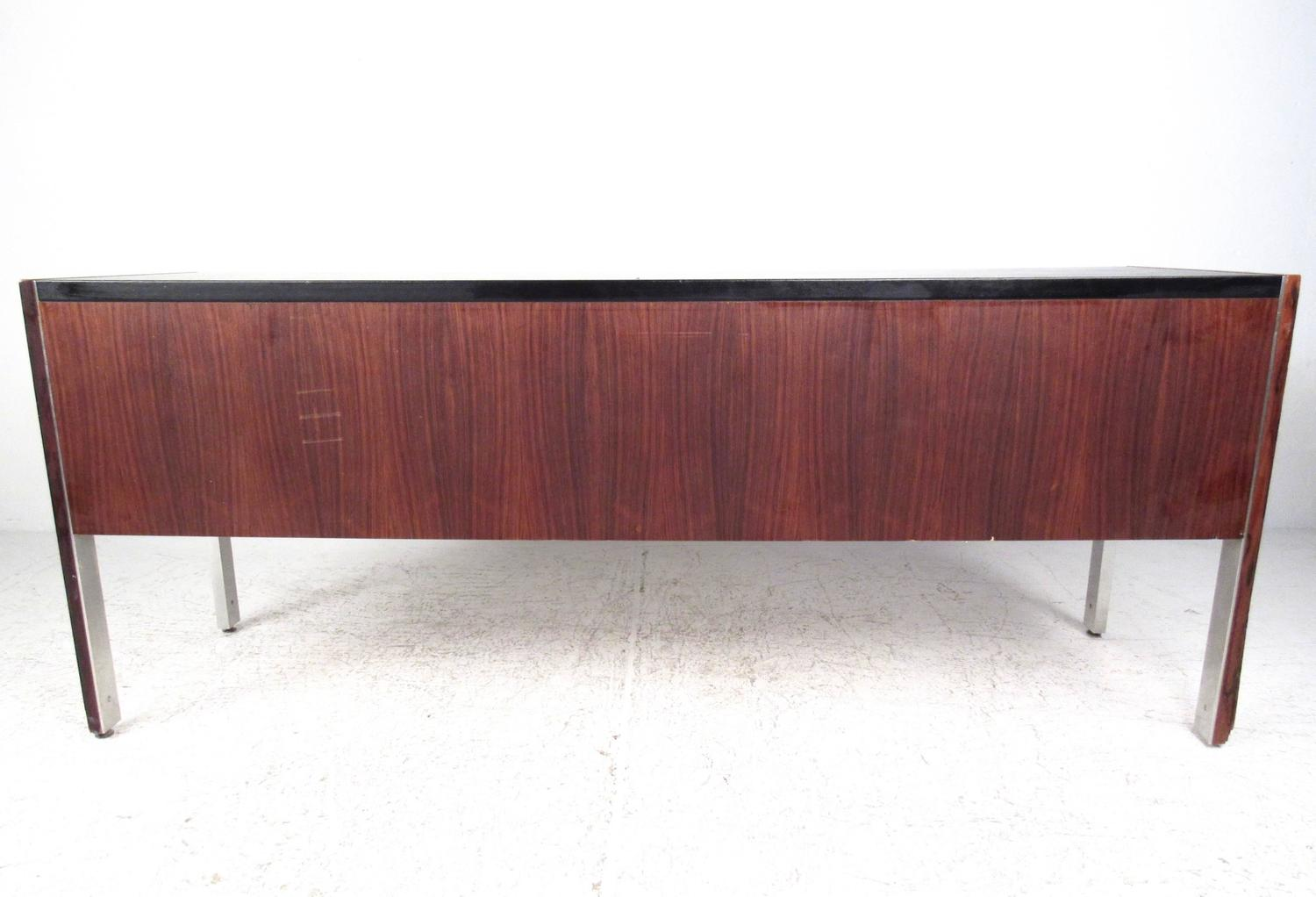 Mid-Century Modern Leather Top Rosewood Office Credenza by ...