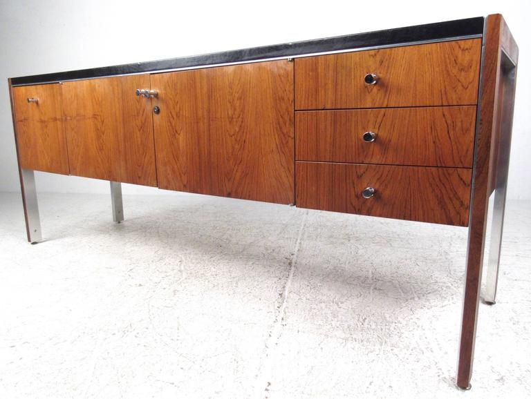 Mid Century Modern Herman Miller Office Credenza In Rosewood With Leather  Top For Sale