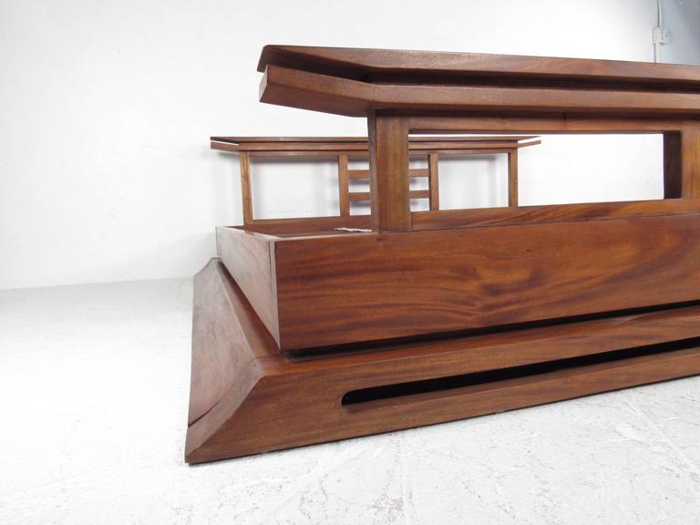 Contemporary Modern Solid Teak King Size Bed Frame At 1stdibs
