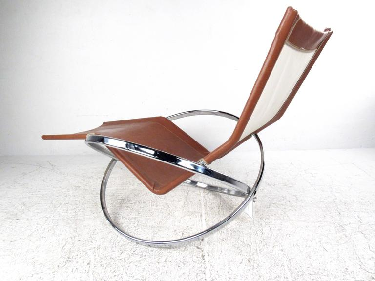 Unique mid century modernist chrome and vinyl chaise lounge chair for sale at 1stdibs - Mid century chaise lounge chair ...