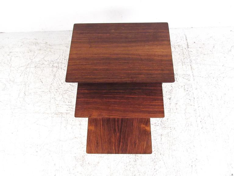 Mid-Century Modern Danish Modern Rosewood Nesting Tables by Bramin For Sale