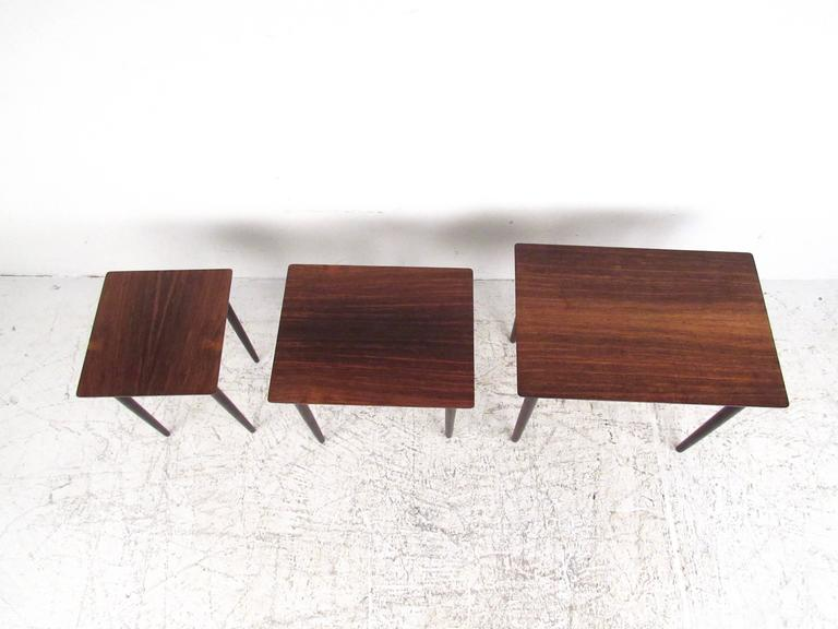 Mid-20th Century Danish Modern Rosewood Nesting Tables by Bramin For Sale