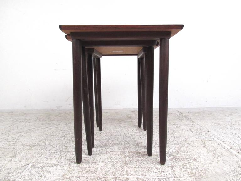 Danish Modern Rosewood Nesting Tables by Bramin In Good Condition For Sale In Brooklyn, NY