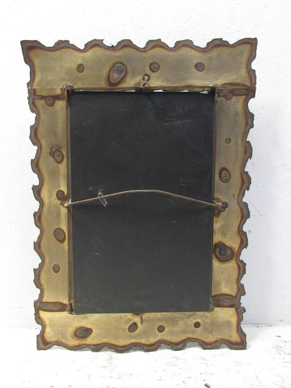 Metal Brutalist Wall Mirror in the Style of Silas Seandel For Sale