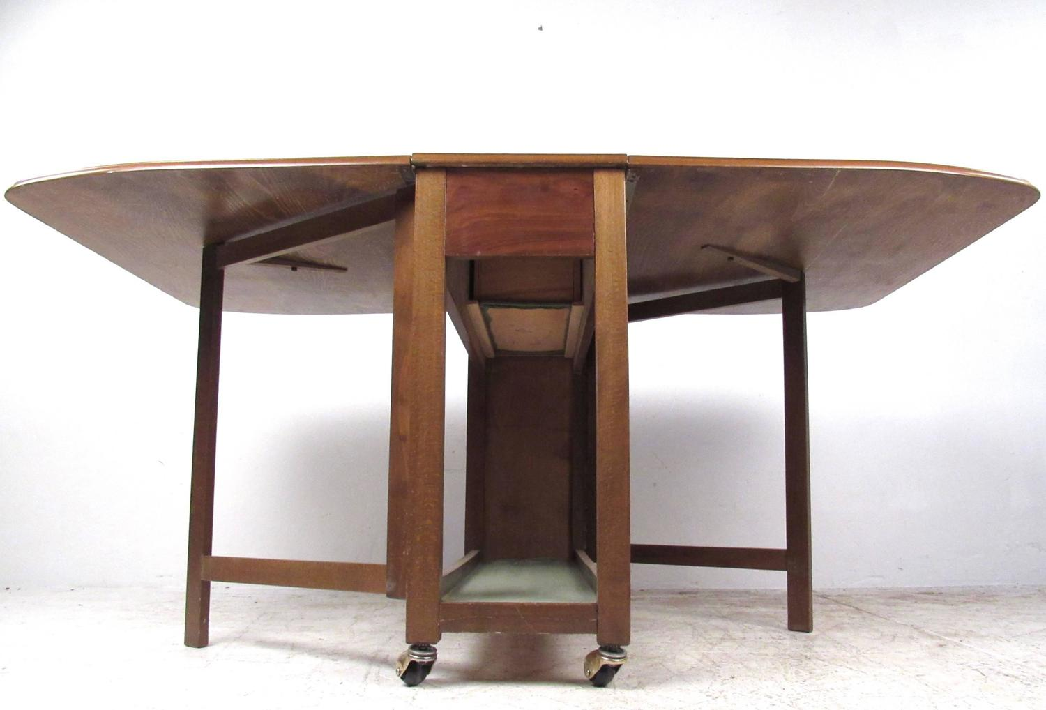 Mid Century Modern Rolling Drop Leaf Table With Chairs For