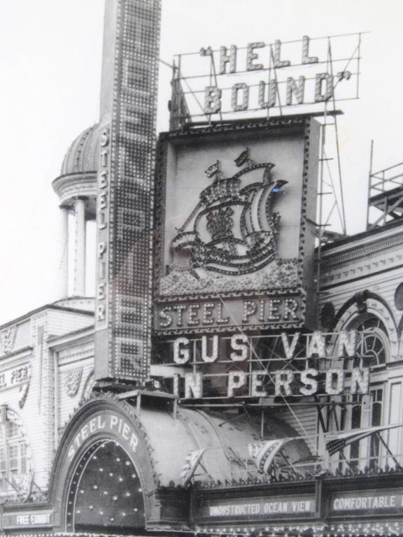 American Vintage Atlantic City Boardwalk Black and White Print Photograph For Sale