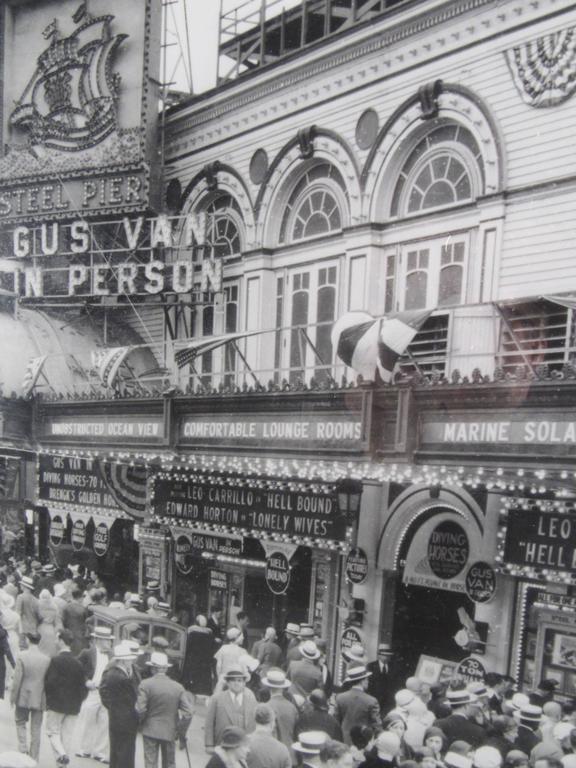 20th Century Vintage Atlantic City Boardwalk Black and White Print Photograph For Sale