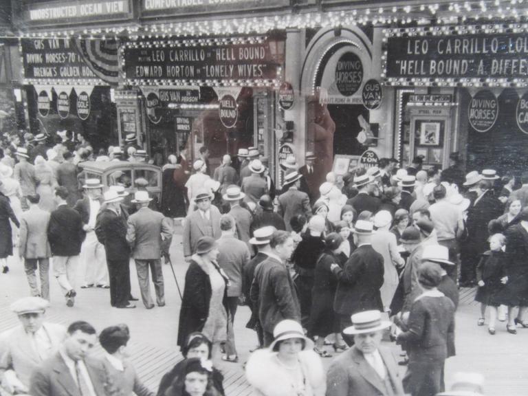 American Modern Vintage Atlantic City Boardwalk Black and White Print Photograph For Sale