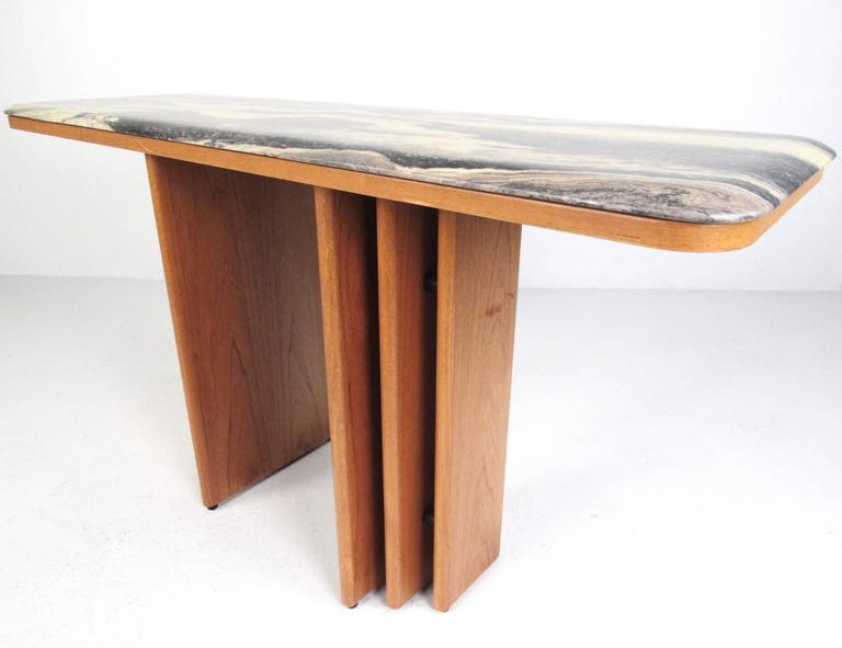 This Vintage Danish Teak Console Table Features A Sleek And Stylish Flared  Base Design Topped With