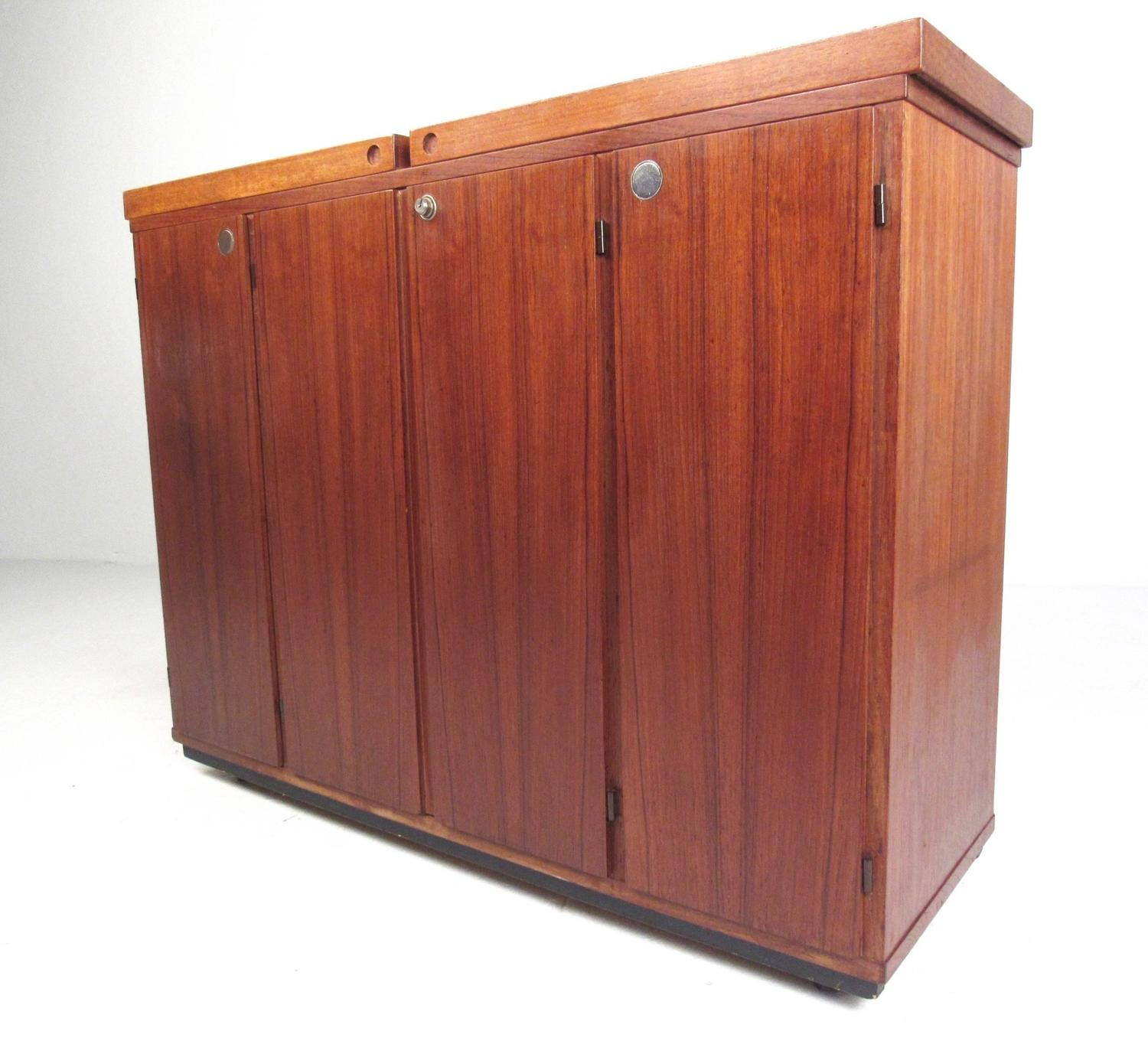 Mid century modern danish teak expandable bar cabinet for for Modern teak kitchen cabinets