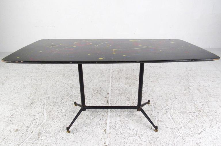Mid Century Modern Hand Painted Italian Coffee Table For