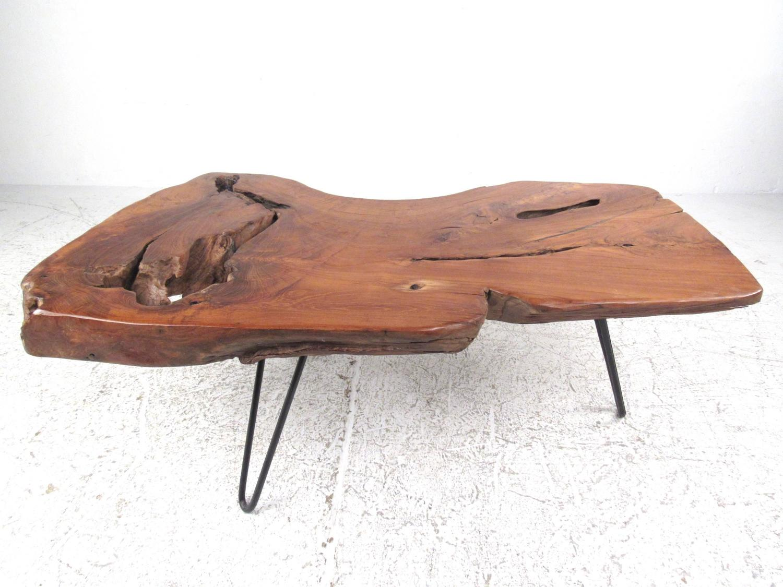 Rustic Modern Free Edge Tree Slab Coffee Table on Hairpin ...
