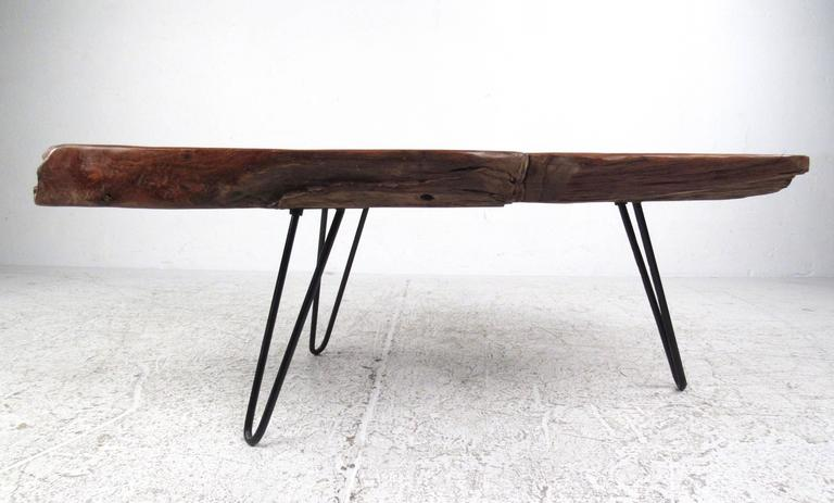 Mid-Century Modern Rustic Modern Free Edge Tree Slab Coffee Table on Hairpin Legs For Sale