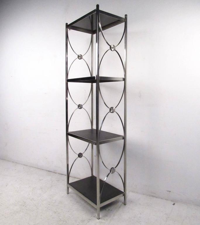Contemporary Wall Shelves Decorative: Contemporary Modern Decorative Chrome Etagere Display Shelf For Sale At 1stdibs