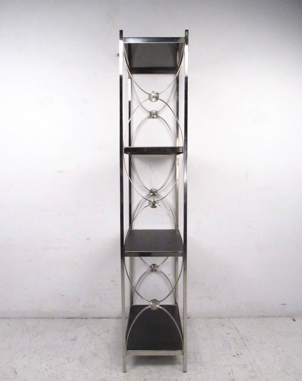 contemporary modern decorative chrome etagere display shelf for sale at 1stdibs. Black Bedroom Furniture Sets. Home Design Ideas