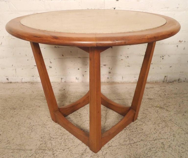 Round Travertine Top Side Table For Sale 1